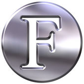3D Silver Letter F — Stock Photo