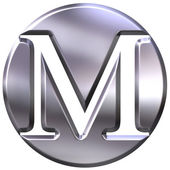 3D Silver Letter M — Stock Photo