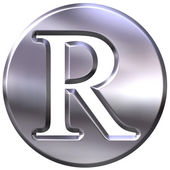 3D Silver Letter R — Stock Photo