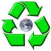 Recycling symbol surrounding earth — Stock Photo