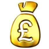 Sack full of British pounds — Stock Photo