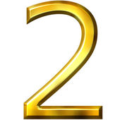 3d golden number 2 — Stock fotografie