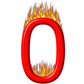 Number 0 on fire — Stock Photo