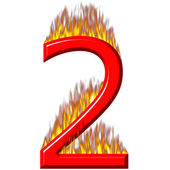 Number 2 on fire — Stock Photo