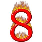 Numer 8 na ogień — Zdjęcie stockowe