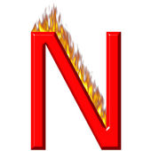 3D Letter N on Fire — Stock Photo