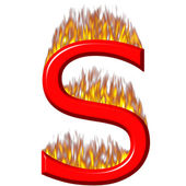 3D Letter S on Fire — Stock Photo
