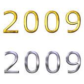 3d año 2009 en oro y plata — Foto de Stock