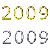 3d year of 2009 in gold and silver — Foto de Stock
