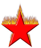 3D Red Star on Fire — Stock Photo