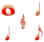 Music Notes on Fire 1 of 2 — Stock Photo