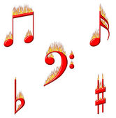 Music Notes on Fire 2 of 2 — Stock Photo