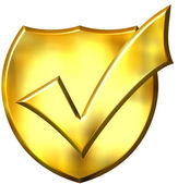 3D Golden Ticked Shield — Stock Photo