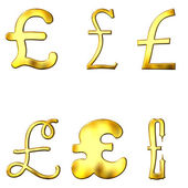 Eccentric Golden Pound Symbols — Stock Photo