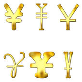 Eccentric Golden Yen Symbols — Stock Photo