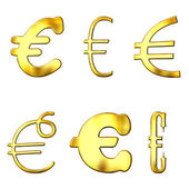 Eccentric Golden Euro Symbols — Stock Photo