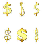 Eccentric Golden Dollar Symbols — Stock Photo