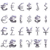 3D Eccentric Silver Currency Symbols — Stock Photo