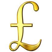 3D Golden Pound Symbol — Stock Photo