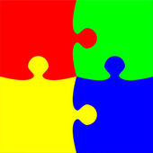 Colorful four pieces puzzle — Stock Photo