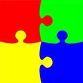 Colorful four pieces puzzle — Stock Photo