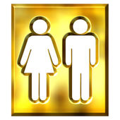 3D Golden Unisex Sign — Stock Photo