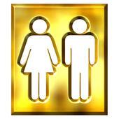 3D Golden Unisex Sign — Stock Photo