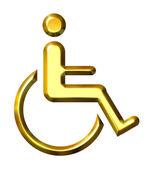3D Golden Special Needs Symbol — Stock Photo
