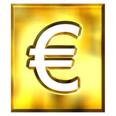 3D Golden Framed Euro Sign — Stock Photo