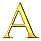 3D Golden Greek Letter Alpha — Stock Photo