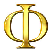 3D Golden Greek Letter Phi — Stock Photo