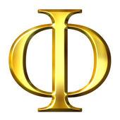 3D Golden Greek Letter Phi — Stock Photo