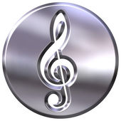 3D Silver Framed Treble Clef — Stock Photo