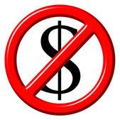 免费的反美元 3d 符号 — 图库照片