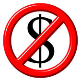 Free of charge anti dollar 3d sign — Stockfoto