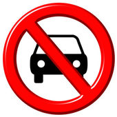 No cars allowed 3d sign — Stock Photo