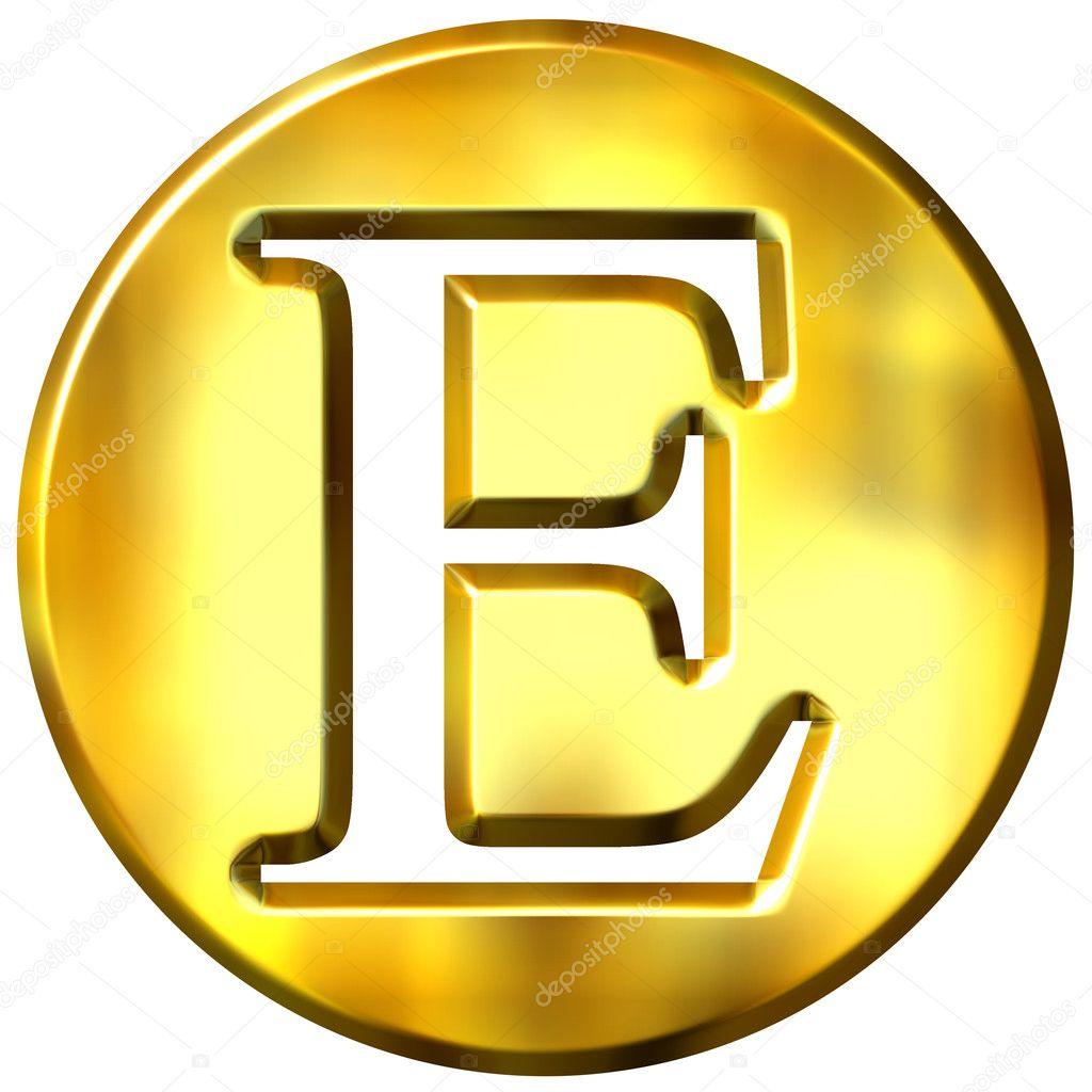 3d 金色字母 e