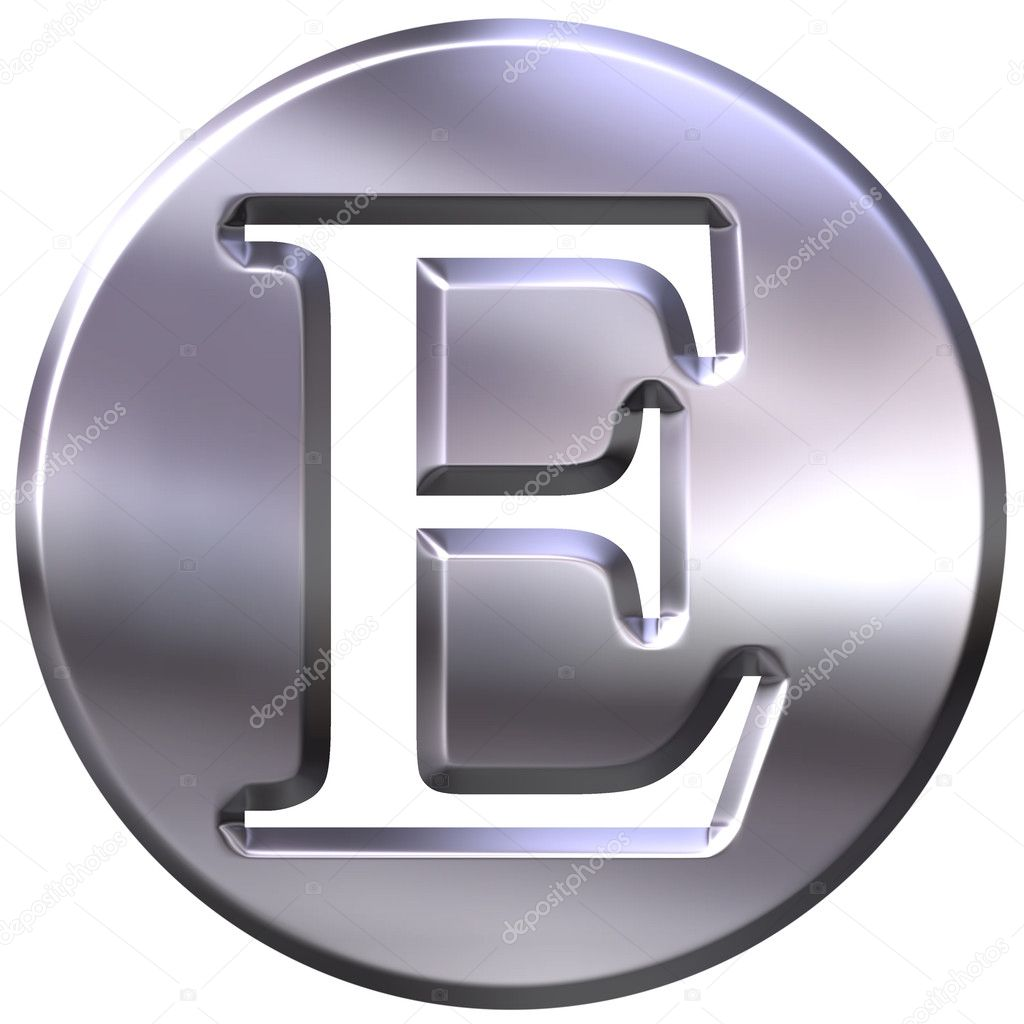 e Letter Logo 3d 3d Silver Letter e Isolated in