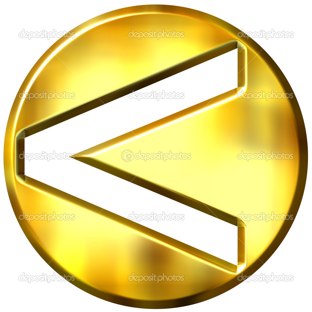 3d golden framed strict inequality symbol representing less or greater if turned arround — Stock Photo #1394846