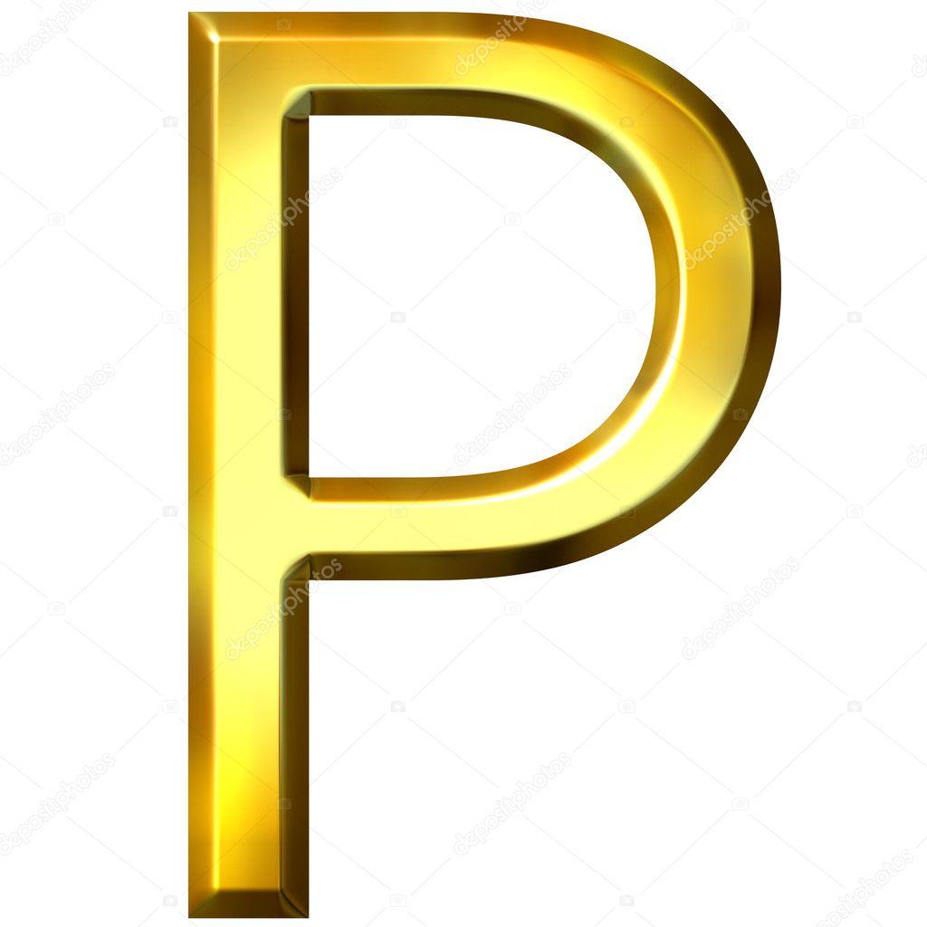 3d golden letter p stock photo georgios 1394934. Black Bedroom Furniture Sets. Home Design Ideas