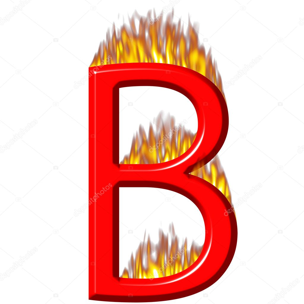3d letter B on fire isolated in white — Photo by georgios title=