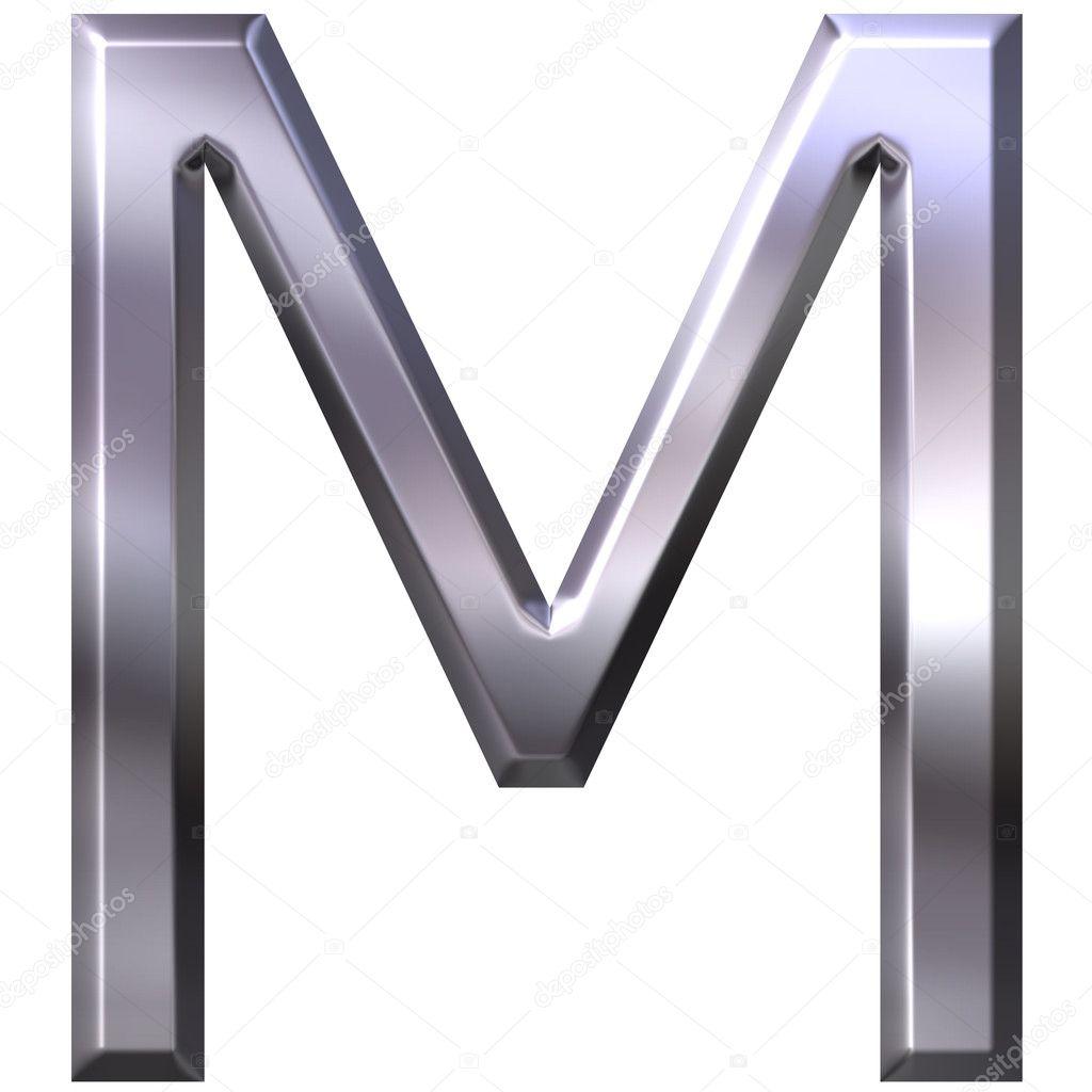 M Letter In Silver 3D Silver Lette...