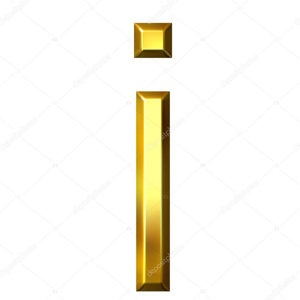 3D Gold Letter I