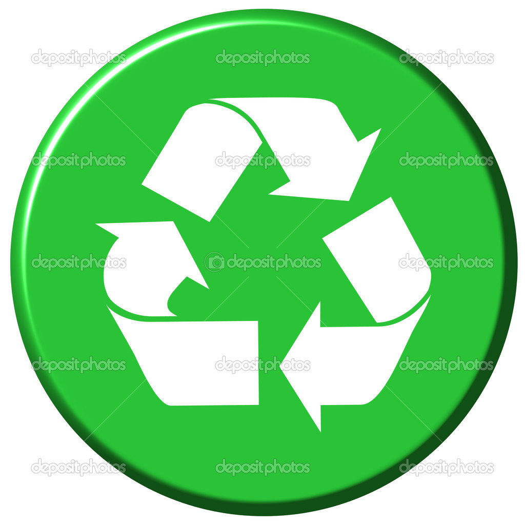 Recycle button isolated in white  Stock Photo #1399937