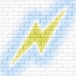 Stock Photo: Thunderbolt graffiti on wall brick