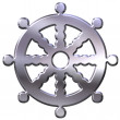 buddhism symbol wheel of dharma — Stock Photo