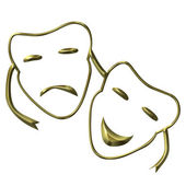 Theatrical masks of drama and comedy — Stock Photo