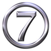 3D Silver Number 7 — Stock Photo