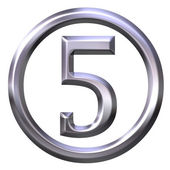 3D Silver Number 5 — Stock Photo