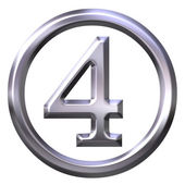 3D Silver Number 4 — Stock Photo